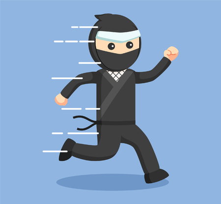 strong men: ninja running vector illustration design