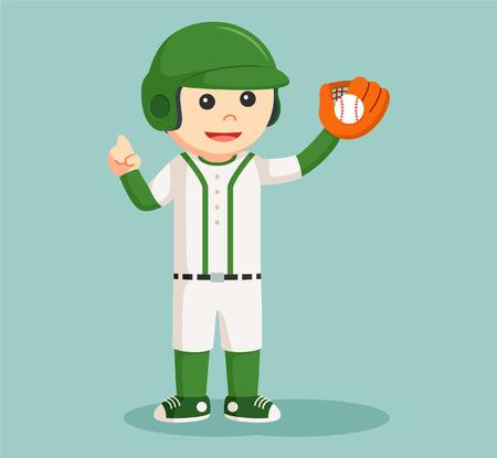 baseball player with glove Illustration