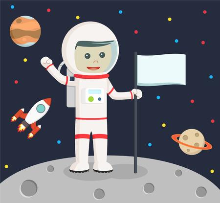 raise the white flag: astronaut holding flag vector illustration design