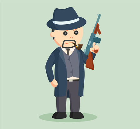 gunman: crime boss with holding a gun Illustration