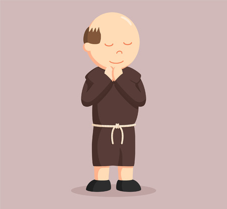 christian monk praying vector illustration design
