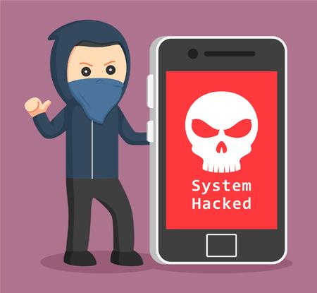 hacker met grote smartphone