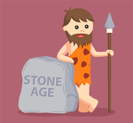 stone tablet: caveman with stone age sign