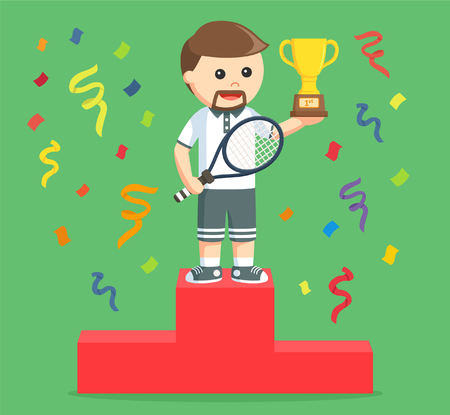 rousing: tennis player winning a trophy Illustration