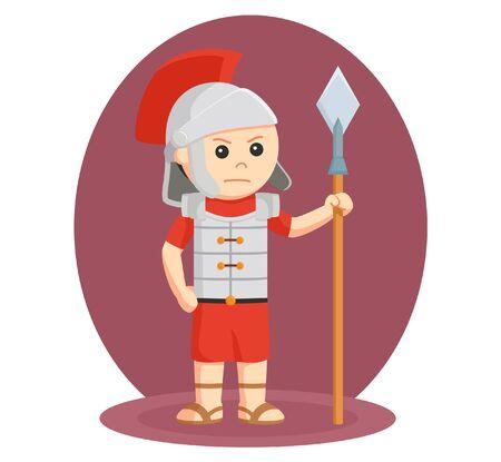 dashing: gladiator with spear vector illustration design