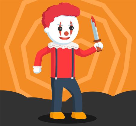 Evil clown: evil clown holding bloody knife