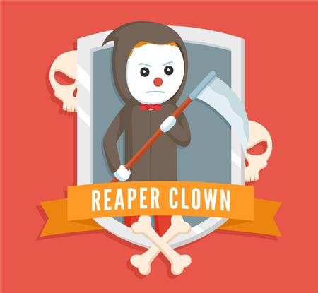 reaper clown  vector illustration design