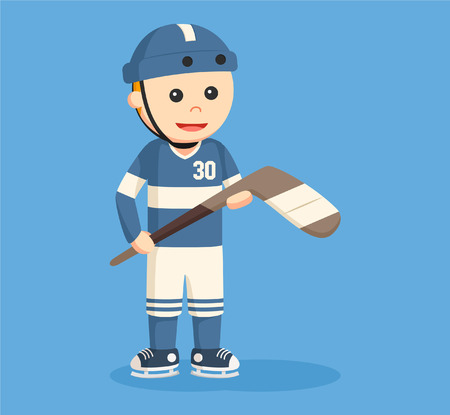 young boy smiling: hockey player standing vector illustration design