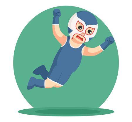 attack: blue lucha libre jumping attack Illustration