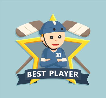 icono deportes: Hockey playe en el emblema de la estrella