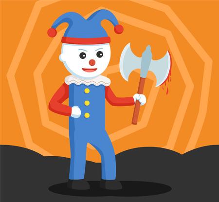 Evil clown: evil clown holding bloody axe Illustration
