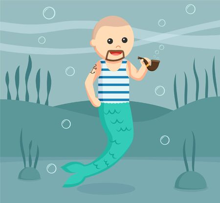 classical mythology character: sailor mermaid man vector illustration design Illustration