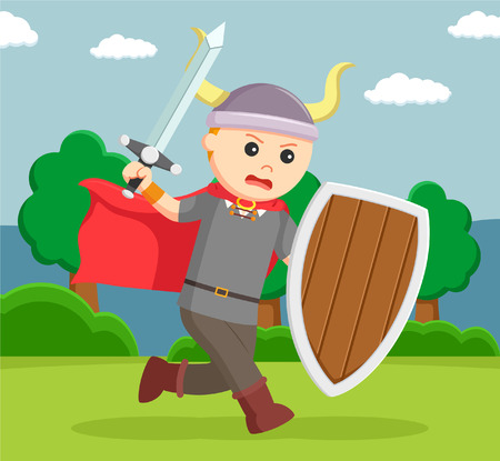 viking soldier wield shield and sword