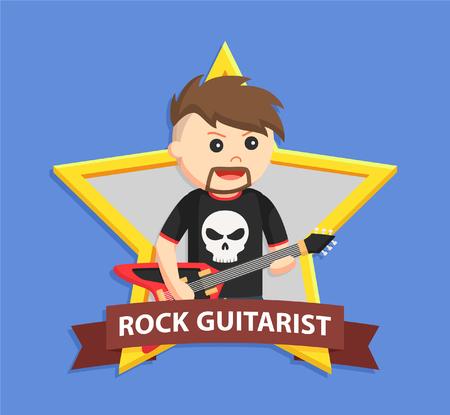 rock guitarist: rock guitarist in emblem Illustration