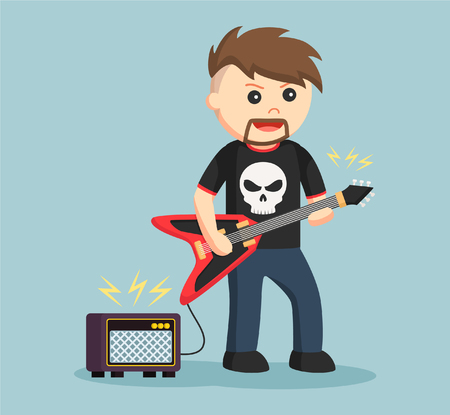 thrilled: rock guitarist with amplifier