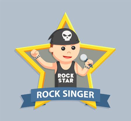 rock singer in emblem Illustration