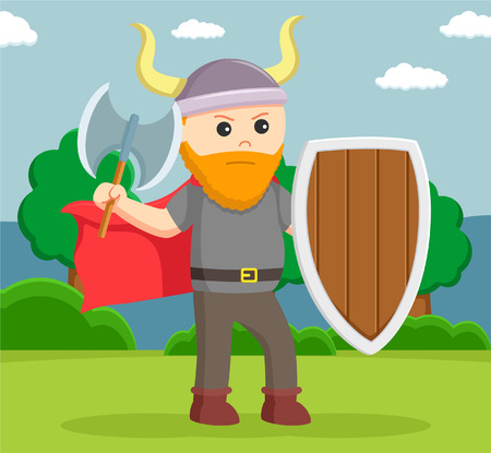 fat viking soldier wield shield and axe