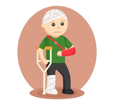 badly: man badly injury vector illustration design Illustration
