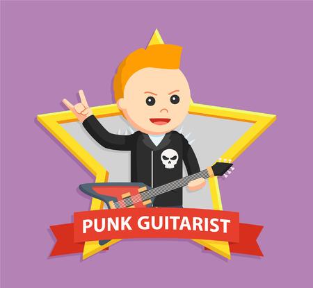 punk: punk guitarist in emblem