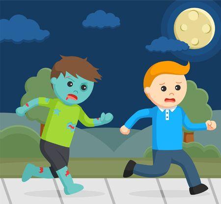 zombie chasing man illustration design