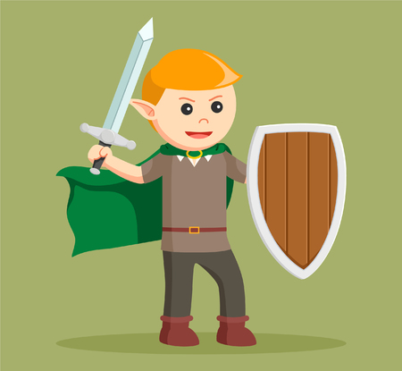 auburn: elf with shield and sword Illustration