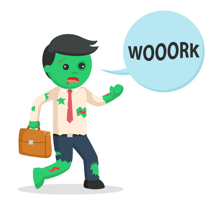workaholic: businessman zombie with work callout