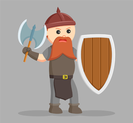 dwarf warrior with axe and shield