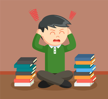 exam: teen boy stress out with school books
