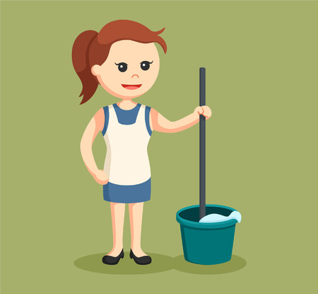housewife with mop and bucket