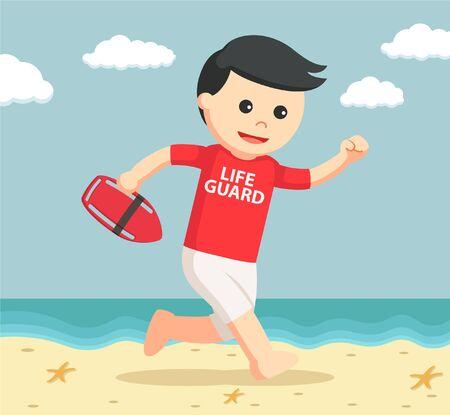 coast guard: lifeguard running to rescue Illustration