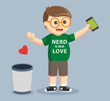 throwing: nerd throwing love into trash