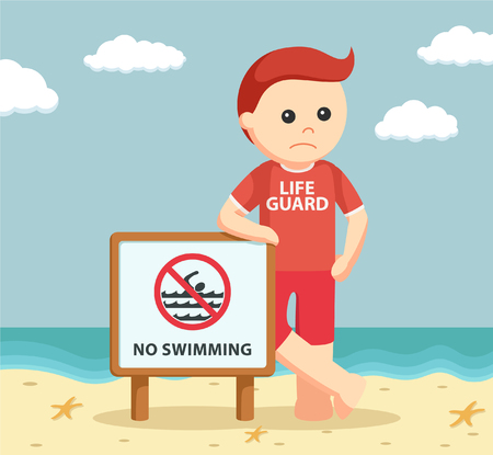 no swimming sign: lifeguard with no swimming sign
