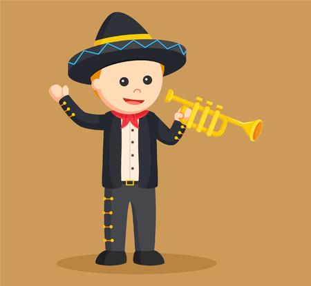 cornet: mariachi with trumpet  illustration design