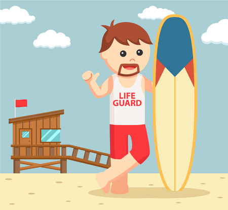 security guard man: lifeguard with surf board Illustration