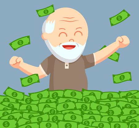 fat old man enjoy is retirees money Illustration