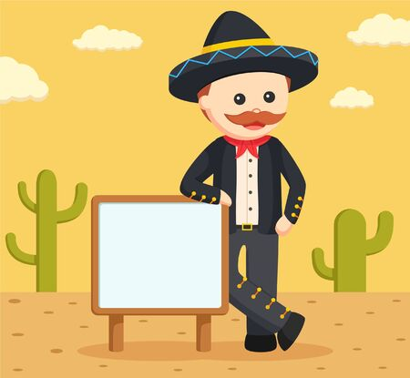 mariachi: mariachi with sign and desert background Illustration