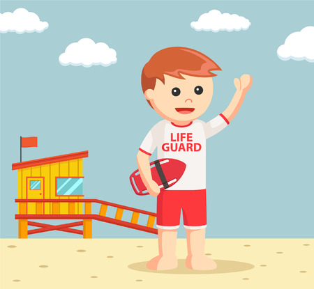 buoy: lifeguard with rescue buoy Illustration
