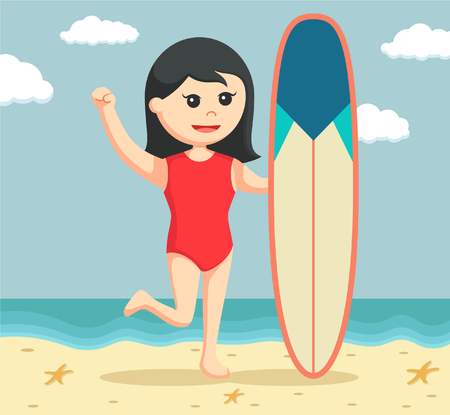 female lifeguard with surfboard Illustration