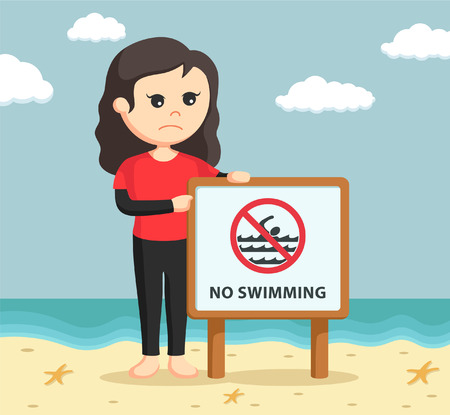 no swimming sign: female lifeguard with no swimming sign