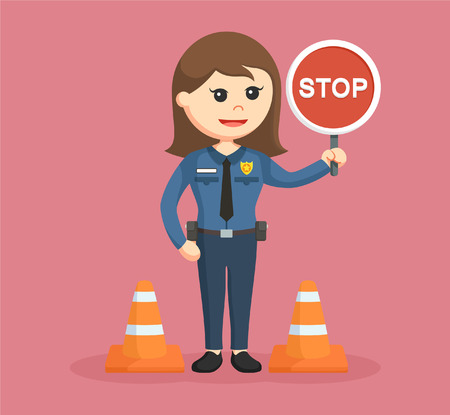 guard duty: police woman with stop sign