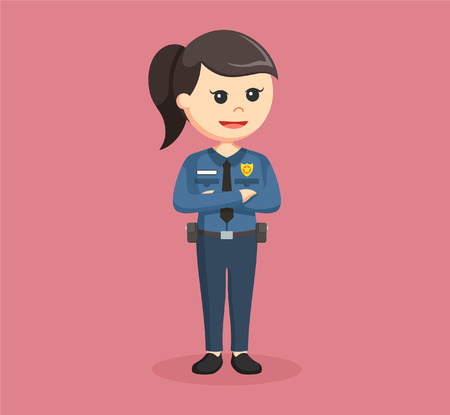 woman pose: police woman standing pose Illustration