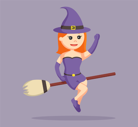 night dress: witch flying with her magic broom