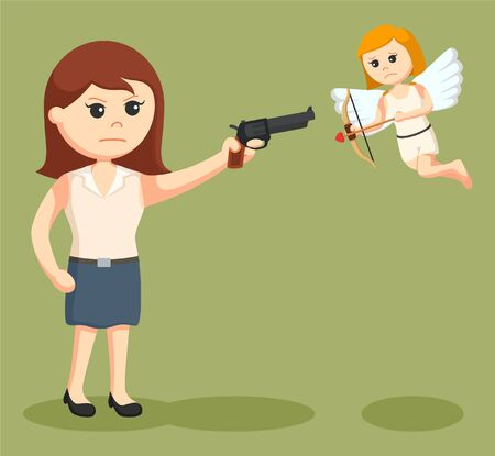 girl with gun: anti valentine girl pointing gun to cupid Illustration