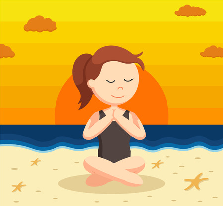 serene people: yoga woman cross sitting on sunset beach