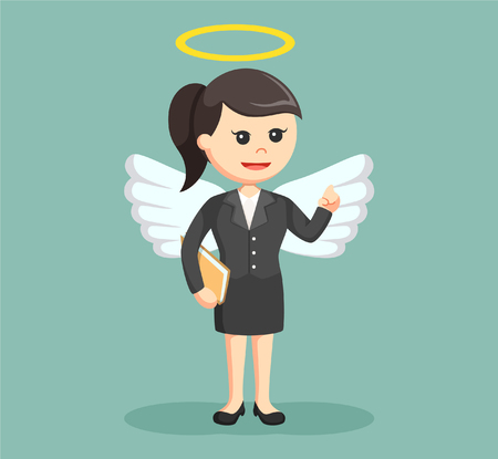 female business angel with halo on her head