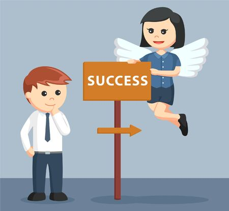 business direction: female business angel showing direction to success