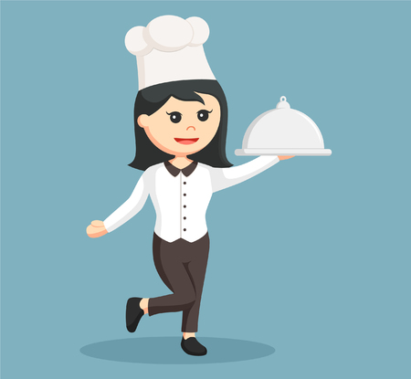 young woman legs up: chef girl with platter