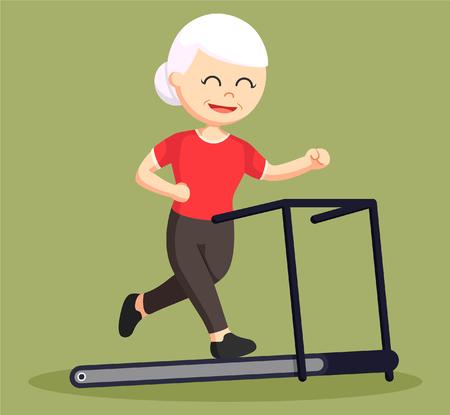 vieille femme courir sur tapis roulant