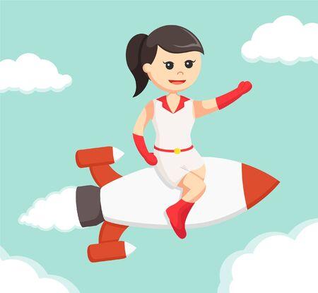 to sit: Chica sentada en el cohete y volando