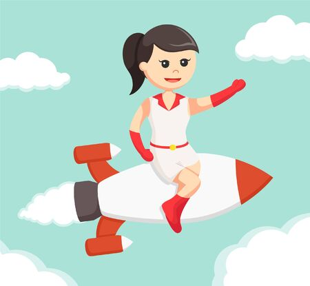 sit: girl sit on rocket and flying Illustration